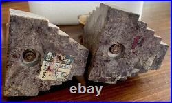 Vintage Art Deco Brass Birds Sitting on Marble Bookend Set