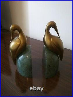 Vintage Art Deco Brass and Green Marble Egret Crane Book Ends Birds