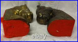 Vintage Art Deco Bronse Brass 2 Large Horse Head Bookend Book Ends