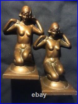 Vintage Art Deco Bronzart New York Nude Woman Girl Bookends