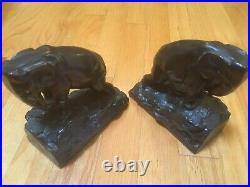 Vintage Art Deco Elephant Bookends Bronze Clad Sculptures