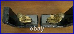 Vintage Art Deco Gold Gilt Bronze Kneeling Women Mounted Black Onyx Bookends