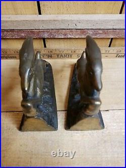 Vintage Art Deco Leaping Gazelle Bronze Patinated Cast Metal (Regule) Bookends