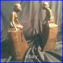 Vintage Art Deco Littco Products Metal Nude Nymph Pair Bookends, Intact Label
