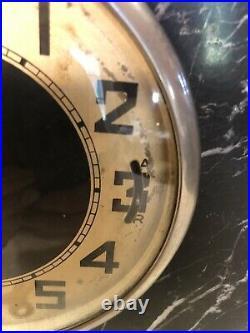Vintage Art Deco Nouveau Marble & Onyx Mantle Clock w Matching Bookends