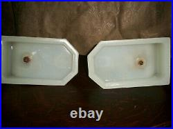 Vintage Art Deco Nude Bookends Opaque Glass Base Book Ends