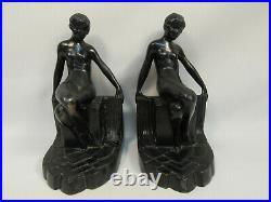 Vintage Art Deco Nude Female Figure Metal Bookends Estate Sale Find