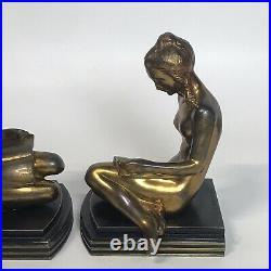 Vintage Art Deco Nude Ladies Bronze Sculptured Bookends by 1937 ART METAL WORKS