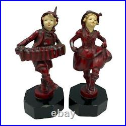 Vintage Art Deco Period J. B. Hirsch Bookends Dancing and Accordion Girl Statues