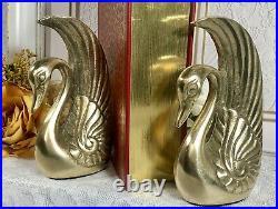 Vintage Art Deco Solid Brass Swan Book Ends Paperweights Bird Hollywood Regency