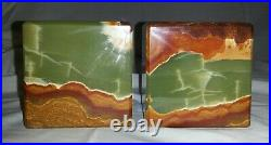 Vintage Art Deco Style Cube Bookends Green Brown Onyx Marble Italy