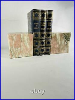 Vintage Art Deco marbled stone bookends GORGEOUS modern minimalist design Shades