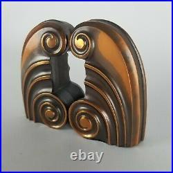 Vintage Bookends Art Deco Design Swirl Flourish Copper Iron Doorstop Nouveau