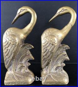 Vintage Brass Bookends Egret Crane Heron Birds Mid Century Art Deco