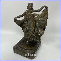 Vintage Bronze Art Deco Dancing Flapper Lady Bookends UNSIGNED