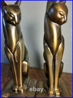 Vintage Bronze Color Art Deco Cubist Egyptian Cat Siamese Bookends Frankart Era
