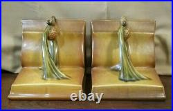 Vintage Brown Roseville Pinecone Book Bookends