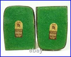 Vintage DODGE Horse Head Bookends Brushed Brushed Brass Art Deco