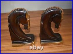 Vintage Dodge Horse Head 2 Bookends Art Deco 1940's Gladys Brown Edwards