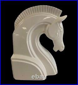 Vintage FITZ & Floyd White Ceramic Horse Head Bookends MCM Art Deco Japan RARE