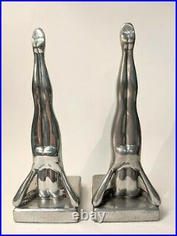 Vintage FRANKART Sarsaparilla Art Deco Silhouette Nude Headstand Lady Bookends