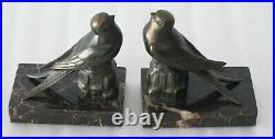 Vintage French Art Deco Bookends Sparrows