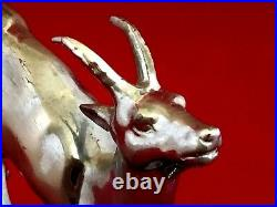Vintage French Art Deco Deer fawn bookends marble terrace 5H