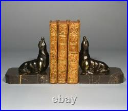 Vintage French Art Deco Spelter and Marble Bookends, Seals