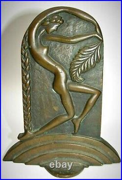 Vintage Heavy Bronze Art Deco Nude Bookend Set Frankart Nuart Style Great Look