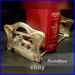 Vintage Judd Expandable Book Rack / Bookends / Solid Brass Race Car Roadster