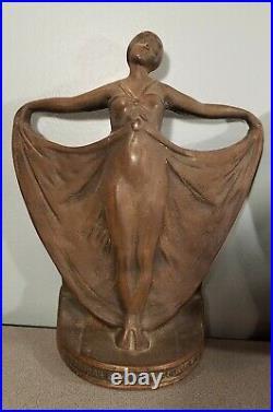 Vintage Lady BRONZE BRASS Art Nouveau BOOKENDS Antique Art Deco Dancing rare