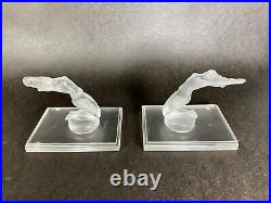 Vintage Lalique Chrysis Frosted Crystal Nude Woman Bookends Made in France