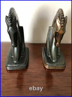 Vintage MCM Art Deco horse Equestrian head bookends Copper Bronze 7 X 5.5