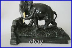 Vintage Pair Deco 1925 Ronson Art Metal Works Bookends Coal Black Metal Elephant