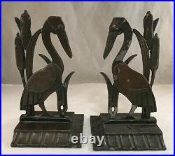 Vintage Pair Of Art Deco Emp Figural Cast Metal Book Ends Bookends Stork Bird