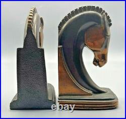 Vintage Pair of Dodge, Inc Art Deco Cast Metal Horse Head Bookends Copper Patina