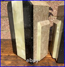 Vintage Retro Art Deco, Ibex Bookends On Multicolour Marble, Onyx Granite Bases