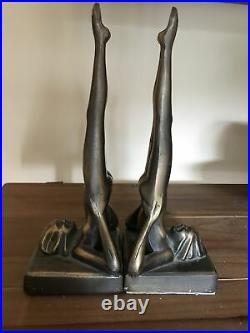 Vintage Sarsaparilla Art Deco Silhouette Nude Headstand Lady Bookends