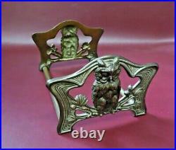 Vintage Solid Brass Owl Figure 9-15 Long Sliding Adjustable Bookends #9776