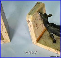 Vintage art deco french bookends deer on a marble plinth