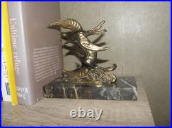 Vintage bookends bird Art Deco Marble Stunning flying animal figurine book old
