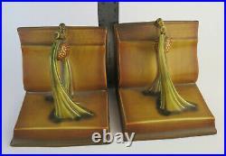 Vintage original Roseville brown Pine cone Book Ends very nice! Foil tag