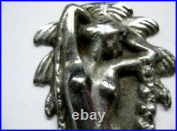 Vtg Antique Eve Female Art Deco Lady Bust Tree Art Statue Chrome Bookends