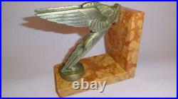 Vtg Art Deco Pegasus Frederick Bazin French Book Holder End Bronze & Marble 1925