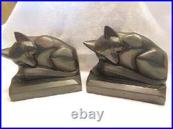 Vtg. Art Deco Style Non Magnetic Metal Hollow Bookend, Sleeping Foxes