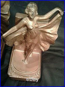 Vtg Loie Fuller Dancing Flapper Girl Art Deco Metal Bookends Circa 1927