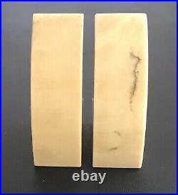 Yellow Alabaster Bookends with Black Marbling Made in Italy Hand Carved Art Deco